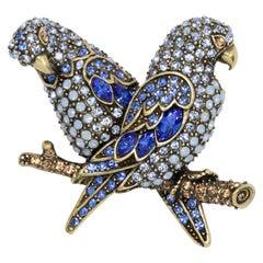 Heidi Daus Embellished Pave Aquamarine Crystal Parrot Pair Brooch