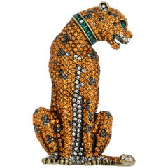 Heidi Daus Feline and Fierce Tiger Pin Brooch, Crystal Emerald, Topaz, Hematite