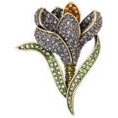Heidi Daus Flowing Flower Pin Brooch, Pave Crystals and Antique Brass Tone