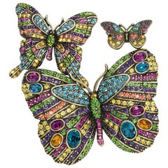 Heidi Daus Fluttering Fantasy Three Pin Colorful Crystal Butterfly Set