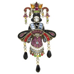 "Heidi Daus ""Geisha Glamour"" Crystal and Enamel Pin Brooch"