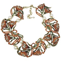 Heidi Daus Heavenly Bloom Faux Pearls Multi-Color Crystal Link Collar Necklace