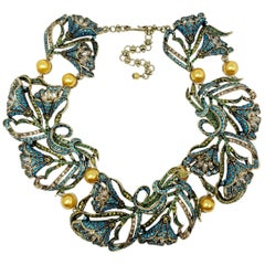 Heidi Daus Heavenly Bloom Faux Pearls Multi-Color Crystal Link Collar Necklace