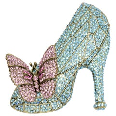 Heidi Daus If the Shoe Fits Glass Slipper and Butterfly Pin Brooch, Crystals