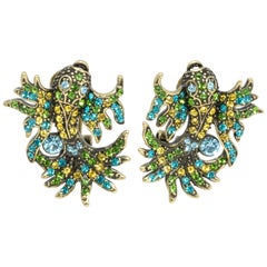 Heidi Daus In the Swim Crystal Embellished Fish Clip On Earrings
