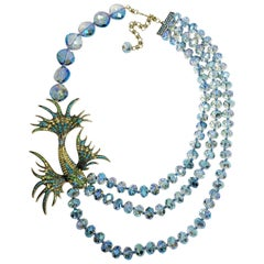 "Heidi Daus ""In the Swim"" Multi-Strand Asymmetrical Beaded Necklace, Fish Motif"