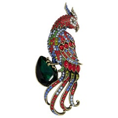 Heidi Daus Jeweled Bird Pin Brooch, Exotic Pave Crystal Design