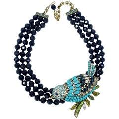 Heidi Daus Marquise Madness Multi Strand Bead Necklace, Embellished Bird Pendant
