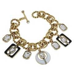 Heidi Daus Mod Squad Enamel and Crystal Charm Toggle Clasp Link Bracelet