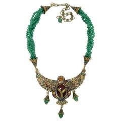 Heidi Daus Mythical Allure Jeweled Winged Scarab Multi Strand Jade Bead Necklace