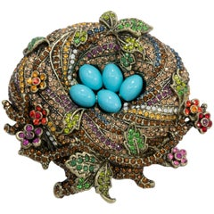 "Heidi Daus ""On a Lark"" Bird's Nest Crystal Pin, Brass Tone, Turquoise Cabochons"