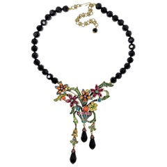 Heidi Daus Perfect Arrangement Beaded Crystal Dangling Flower Pendant Necklace
