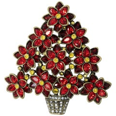 Heidi Daus Pretty Poinsettia Siam Crystal Flower Plant Pin Brooch