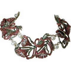 Heidi Daus Red, Green, Clear Crystals & Faux Pearls Floral Bib Necklace