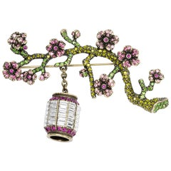 Heidi Daus Sakura Sparkle Crystal Cherry Blossom and Lantern Pin Brooch