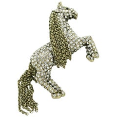 HEIDI DAUS Signed Crystal Tally Ho Pony Horse Designer Brooch Pin Estate
