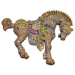 Heidi Daus SIGNED Equine Equestrian Horse Crystal Designer Brooch Pin Estate