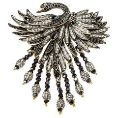HEIDI DAUS Signed Swan Pave Crystal Designer Brooch Pin