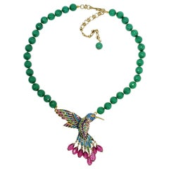 Heidi Daus Sincere Joy Beaded Hummingbird Drop Necklace