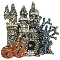 "Heidi Daus ""Spooktacular Chateau"" Haunted Castle Pave Crystal Pin Brooch"