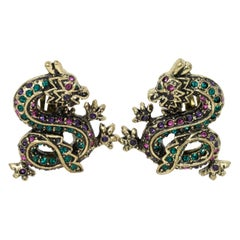 Heidi Daus Sublime Serpent Crystal Dragon Antique Brass Clip On Earrings