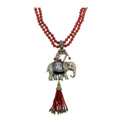 Heidi Daus Sultans of Chic 2-Row Carnelian Bead Elephant Pendant Necklace
