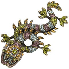 Heidi Daus The Majestic Fu Dog Pave Multicolor Crystal Pin Brooch