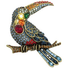 Heidi Daus Too Can You Can Crystal Toucan Bird Pin Brooch