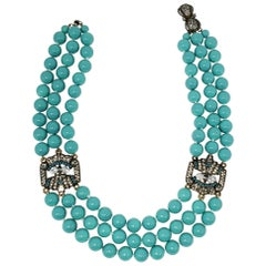 Heidi Daus Triple Strand Turquoise Bead and Crystal-Encrusted Accent Necklace