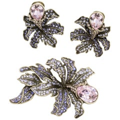 Heidi Daus Wild Orchid Amethyst Crystal Pin Brooch and Clip On Earring Set