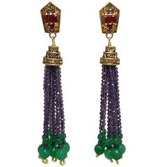 "Heidi Daus ""Windsor Tassels"" Beaded Drop Earrings in Purple, Green, Crystals"
