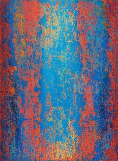 Cerulean Blue Patina -Bright Red and Blue Abstract Painting with Multiple Layers