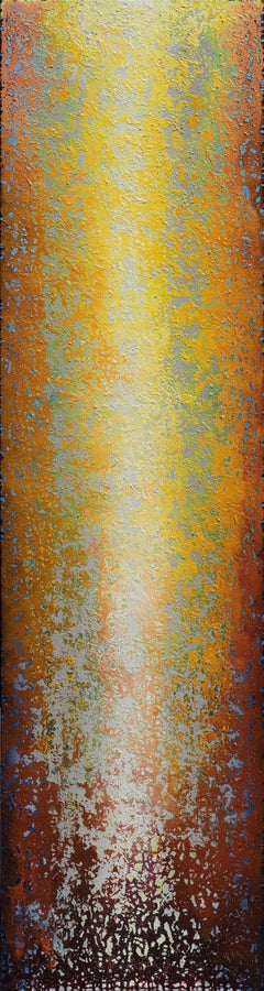 """""""Inspiring Ascension I"""" - Large Vertical Rust and Yellow Abstract Painting"""