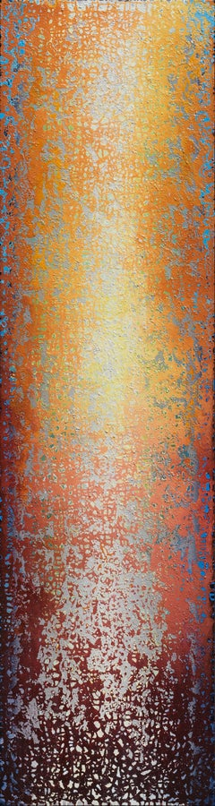 """""""Inspiring Ascension II"""" - Large Vertical Orange and Yellow Abstract Painting"""
