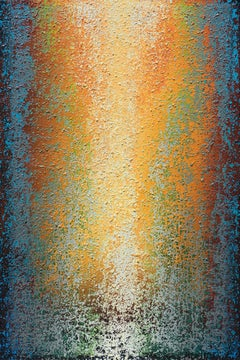 """""""Spring Dance in Orange"""" - Large Vertical Orange and Blue Abstract Painting"""