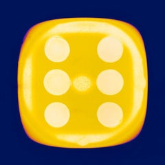 Dice Series, Chartreuse Yellow Six (inky blue) - Conceptual Color Photography