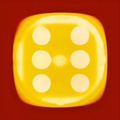 Dice Series, Chartreuse Yellow Six (red) - Conceptual, Color Photography