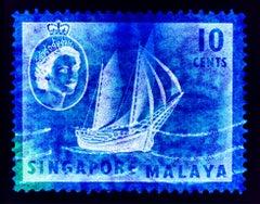 Singapore Stamp Collection, 10 Cents QEII Ship Series Blue - Pop Art Color Photo