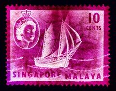Singapore Stamp Collection, 10c QEII Ship Series Magenta - Pop Art Color Photo