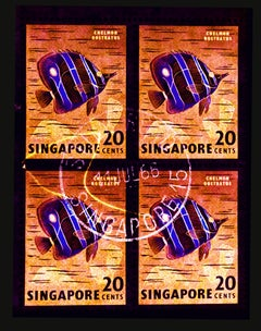 Singapore Stamp Collection, 20c Singapore Butterfly Fish (Gold) - Pop Art Photo