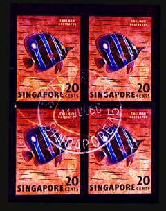 Singapore Stamp Collection, 20c Singapore Butterfly Fish - Pop Art Color Photo