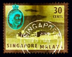 Singapore Stamp Collection, 30 Cents QEII Oil Tanker Khaki - Pop Art Color Photo