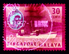 Singapore Stamp Collection, 30 Cents QEII Oil Tanker Pink - Pop Art Color Photo