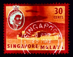 Singapore Stamp Collection, 30 Cents QEII Oil Tanker Red