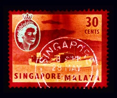 Singapore Stamp Collection, 30 Cents QEII Oil Tanker Red - Pop Art Color Photo