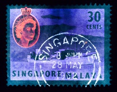 Singapore Stamp Collection, 30 Cents QEII Oil Tanker Teal - Pop Art Color Photo