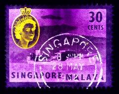 Singapore Stamp Collection, 30c QEII Oil Tanker Purple - Pop Art Color Photo