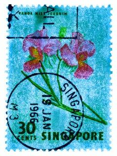 Singapore Stamp Collection, 30c Singapore Orchid Blue - Floral color photo