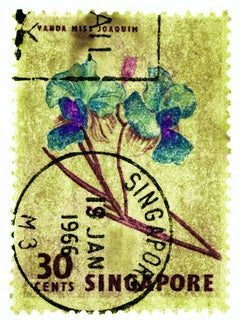 Singapore Stamp Collection, 30c Singapore Orchid Yellow - Floral color photo