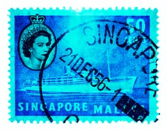 Singapore Stamp Collection, 50c QEII Steamer Ship Cyan - Pop Art Color Photo